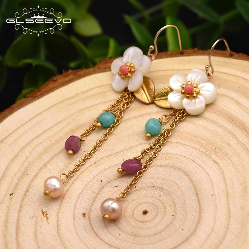 GLSEEVO 925 Sterling Silver Long Tassel Drop Earrings For Women Natural Pearl Pink Blue Stone Shell Flower Leaf Earrings GE0014 pair of stylish rhinestone embossed leaf tassel earrings for women