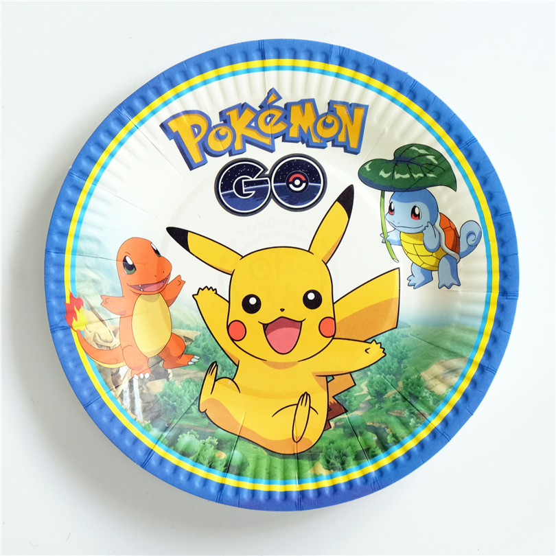 10pcs/lot paper plate Pokemon Go Pikachu Kids Birthday party supply event party supplies party Decoration Set