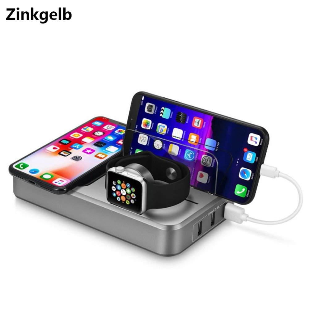 Desktop Multi Port USB Charger Wireless Charging Station 10W Qi Quick Charge 3.0 Fast Charger Apple Watch Charger Stand Dock