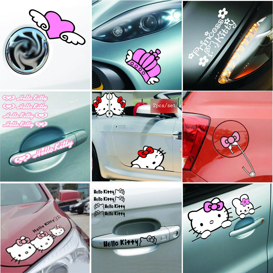 Car mirror sticker design - Cartoon Hello Kitty Car Stickers And Decals Pink Car Accessories Set Auto Car Styling For