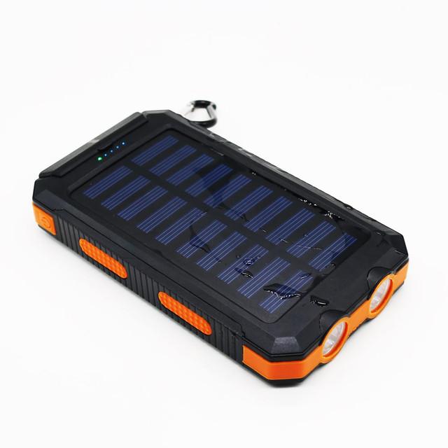 Bússola Solar Power Bank Real 12000 mAh Bateria Externo portátil bateria de backup Carregador Móvel de emergência ao ar livre