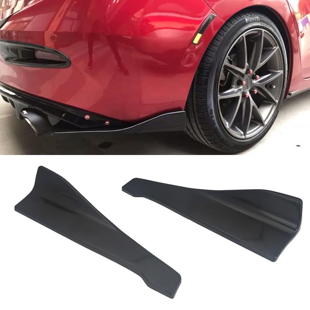 2 Pieces Universal Car Rear Bumper Lip Splitter Fins Spoiler Protector Black