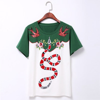 Female Clothes Women S Student Ladies Rivets Flower Collage Embroidered Snake Pattern White Green Phase Pure