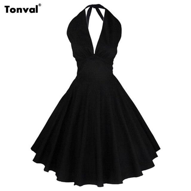 0c70286ba02 Tonval Women Vintage Rockabilly Black Dress Audrey Hepburn 50s Sexy V Neck  Backless Evening Party Halter