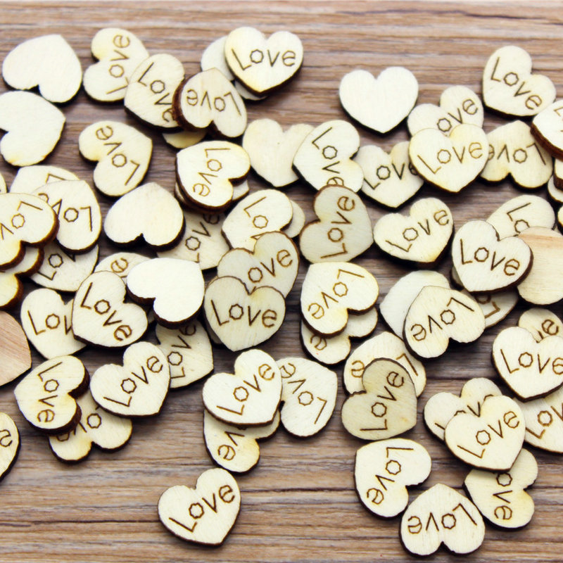 10PCS/LOT.Wood 1.8cm Natural Love Heart Without Stickers Scrapbooking Kit Wedding Valentines Crafts Craft Material DIY Toys OEM
