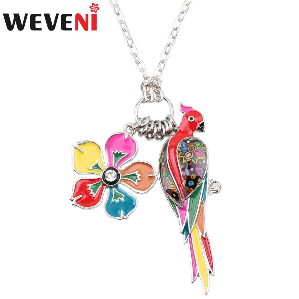 WEVENI Tropics Summer Collection Alloy Sunning Flower Parrot Birds Necklace Chain Enamel ...