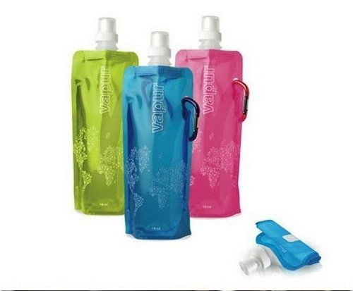 Fahion Fine Quality Travelling  Flexible Foldable Reusable Water Bottle Bag W/Carabiner 16oz/480ml Sports Hiking Free shipping