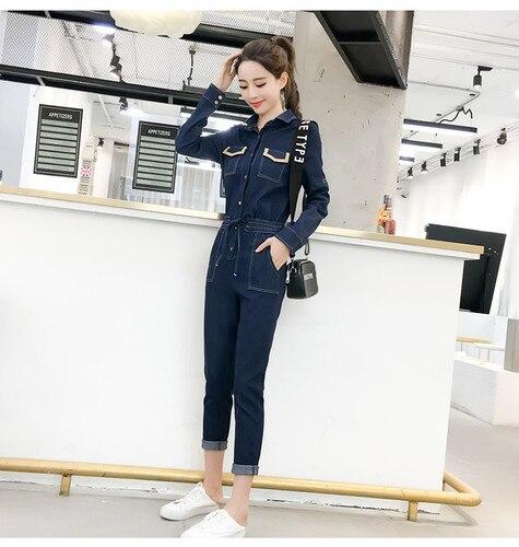 Autumn Jumpsuits Casual Jeans For Women Patchwork One Piece Pants Pockets Bodysuit Women Combinaison Femme Overalls Female 4
