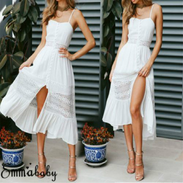 c0bef5a395b8 Emmababy Women Boho Long Maxi Dress Summer Beach Evening Party Sundress  Women Tee Neck Lace Dress White