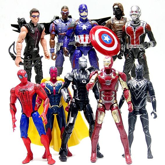 Galleria fotografica 10Pcs Marvel Captain America 3 Civil War The Avengers Iron Spiderman Action Figures Toy