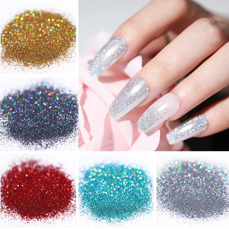 10g Nail Glitter Powder  Effect Sugar Yellow Purple Colorful Shining Beauty Design Dust Nail Art DIY Decorations
