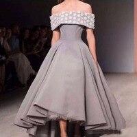 Мода Бато Бальное платье длиной до пола Ручной Цветок Из Бисера Атласная Серый Homecoming Платья