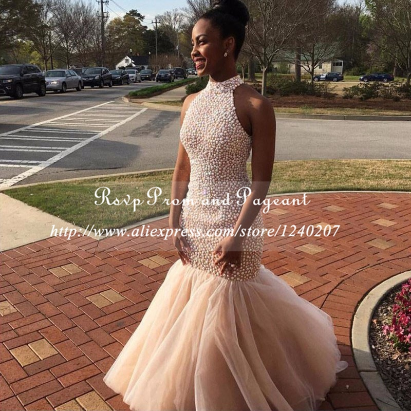 Champaigne On Black Girls Prom Dresses