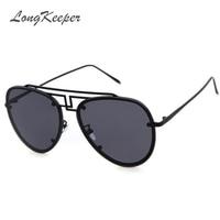 LongKeeper Women Sunglasses Brand Design Metal Glasses Pilot UV400 Driving Gafas De Sol Masculino Gafas De Sol 108Q