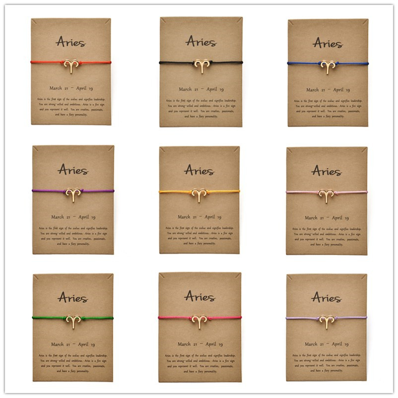 Fashion Jewelry 12 Constellation Zodiac Aries Lucky Rope Bracelet Bangles For Women Men Birthday Gift image