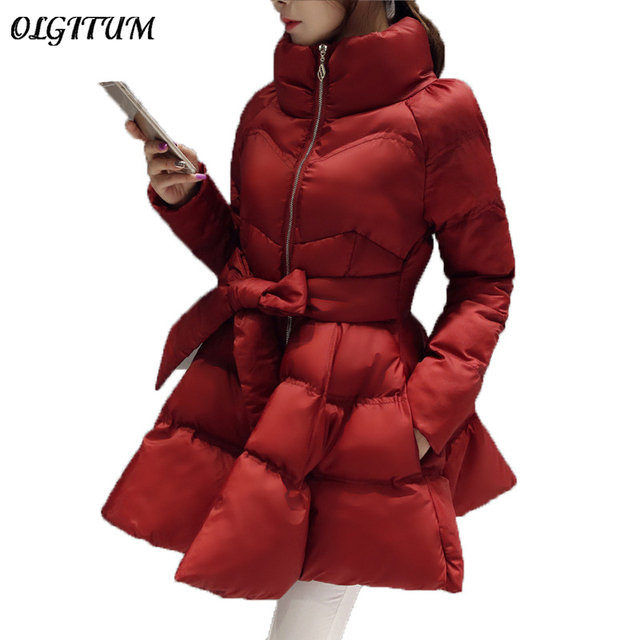 2017 New Arrival Warm Coat Jacket Parkas For Women Winter Women Down And Parkas  Bow Waist Fluffy Skirt A