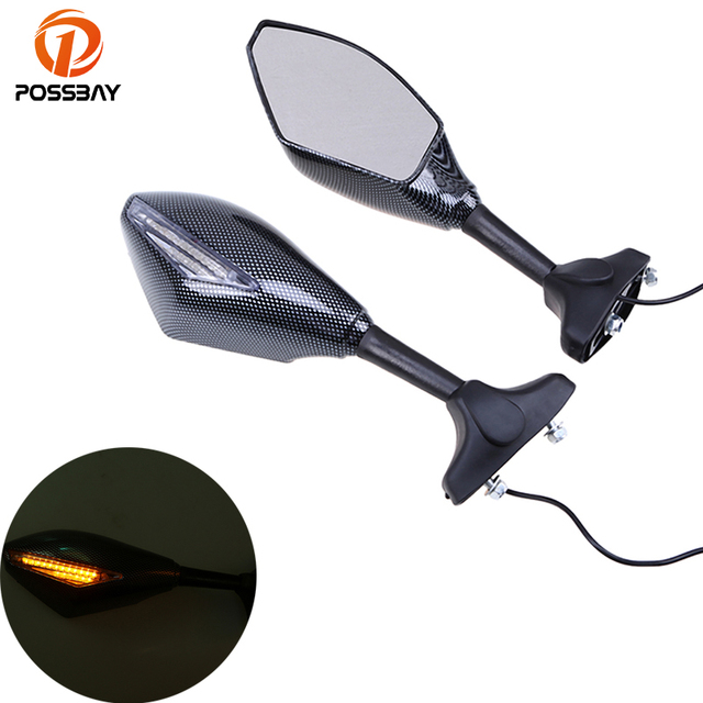POSSBAY Universal Motorcycle Mirror Turn Signal Light Handle Bar End Side Mirror for Honda Suzuki LED Light Rearview Mirrors