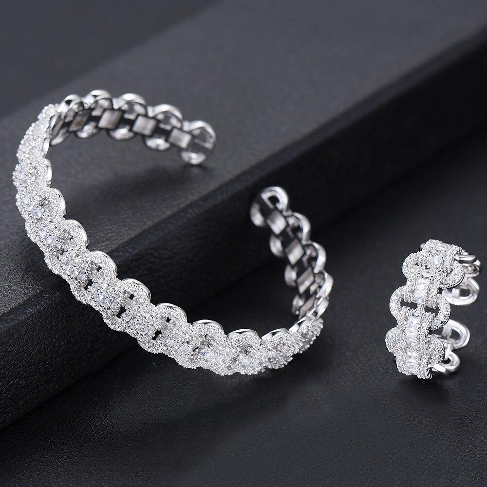 Image 4 - GODKI Luxury African Bangle Ring Sets Fashion Dubai White Bridal Jewelry Sets For Women Wedding brincos para as mulheres 2019Jewelry Sets   -