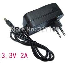 Adaptador conversor ac dc 3.3 v 2a fonte de alimentação carregador 5.5mm x 2.1mm 2000ma ue eua uk plug