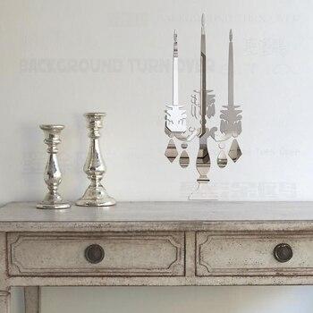 Estilo Vintage Candelabro Decorativo de Acrílico Del Espejo 3D Pegatinas de Pared Comedor Salón Dormitorio decoración Decoración de La Puerta R041