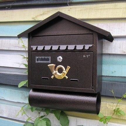 Villa mailbox outdoor newspaper boxes, wrought iron wall bars ...