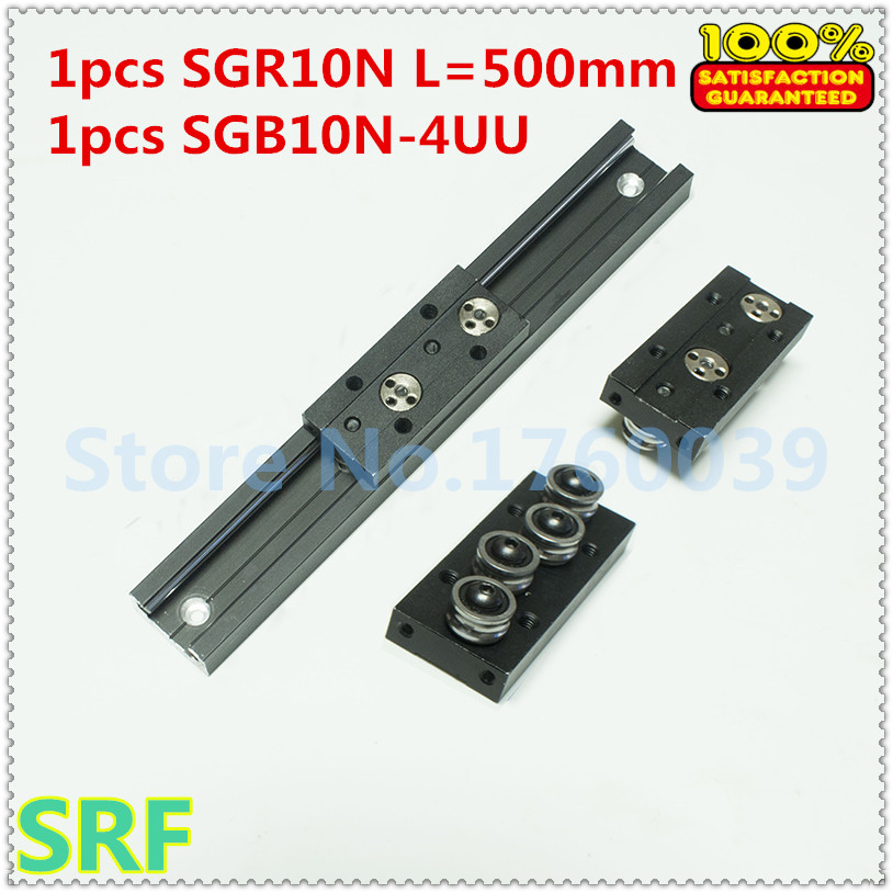 28mm width Rectangle Roller Linear Guide Rail 1pcs SGR10N Length=500mm +1pcs SGB10N-4UU four wheel slide block for CNC part high rigidity roller type wheel linear rail smooth motion belt drive guide guideway manufacturer