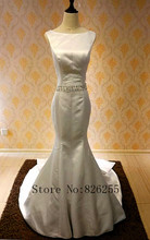 2017 New Arrival Free Shipping O Neck Spaghetti Strap Backless Sheath Beads Belt Sexy Charming Wedding Dress/Bridal Gown ZH0512