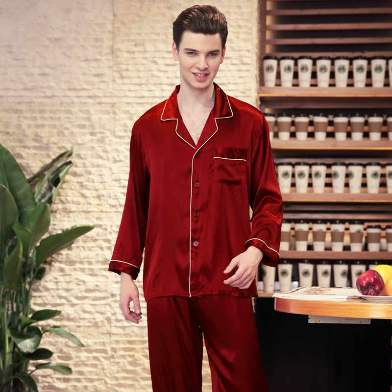 009dc3af63d3 2018 male faux silk pajama set spring long sleeve long pants solid plus  size elastic waist lounge set-in Pajama Sets from Men s Clothing    Accessories on ...