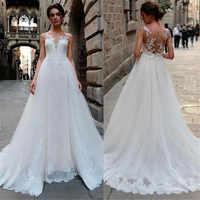 2019 A Line Wedding Dresses Lace Appliques Bridal Gowns V Neck Wedding Dress Custom Made Plus Size Vestido De Novia