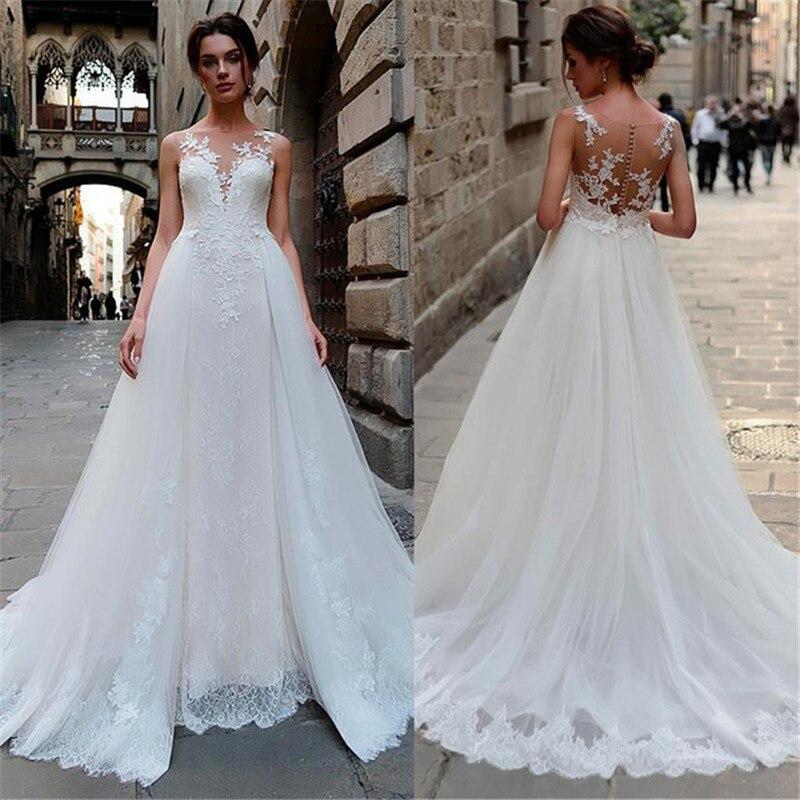 2020 A Line Wedding Dresses Lace Appliques Bridal Gowns V Neck Wedding Dress Custom Made Plus Size Vestido De Novia
