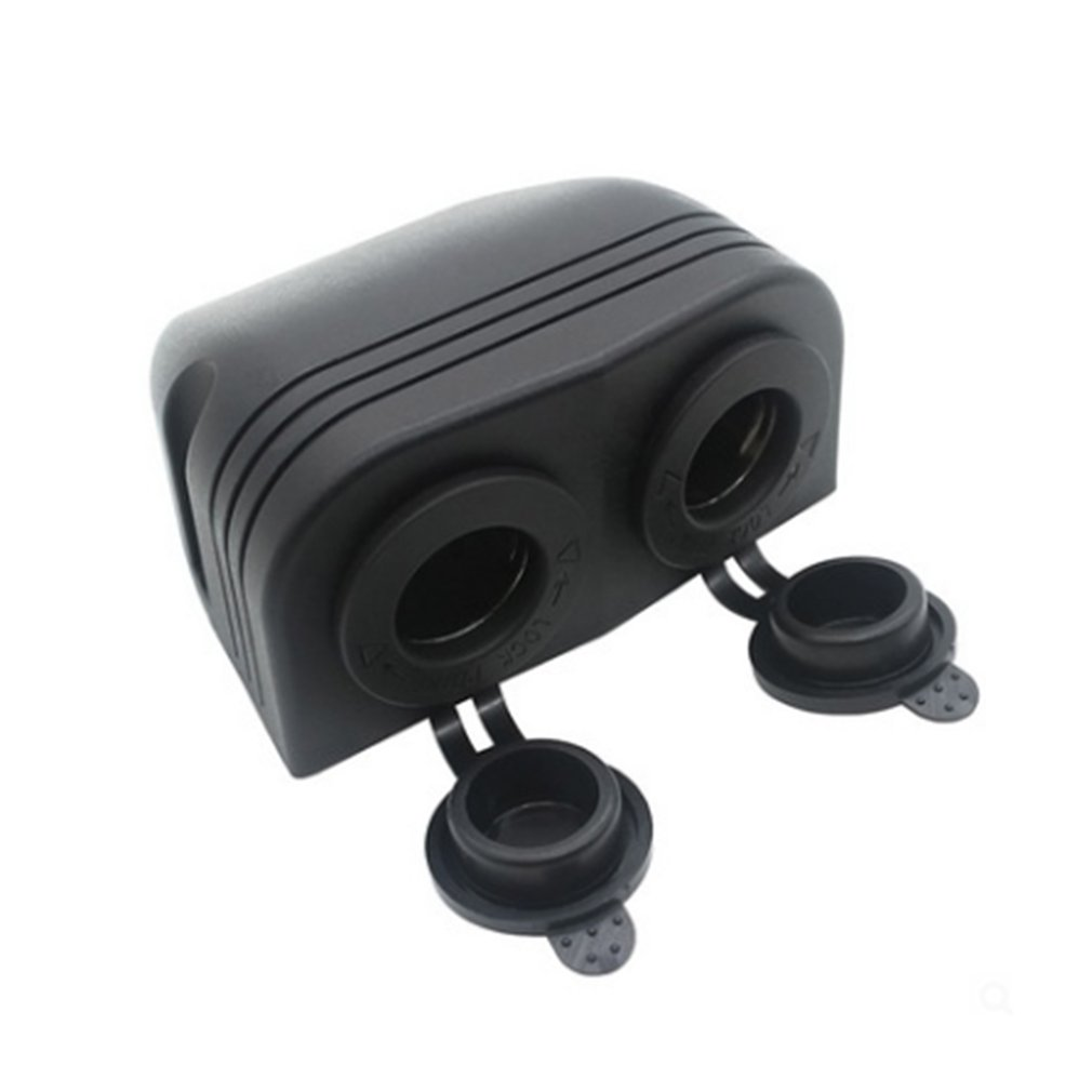 Car Motorcycle Dual 4.2A USB Charger + 12V/24V Cigarette Lighter Socket Two Hole Tent Type Panel For Boat Marine ATV RV