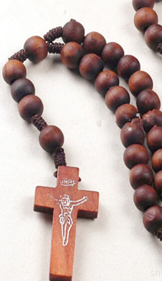 Wood rosary beads jesus cross pendant necklace catholic fashion