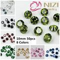 Los Cortes brillantes Ronda Cubic Zirconia Beads 50 unids 10mm Piedras de Cristal Suministros de Accesorios de La Joyería DIY Del Arte Del Clavo 3D decoraciones