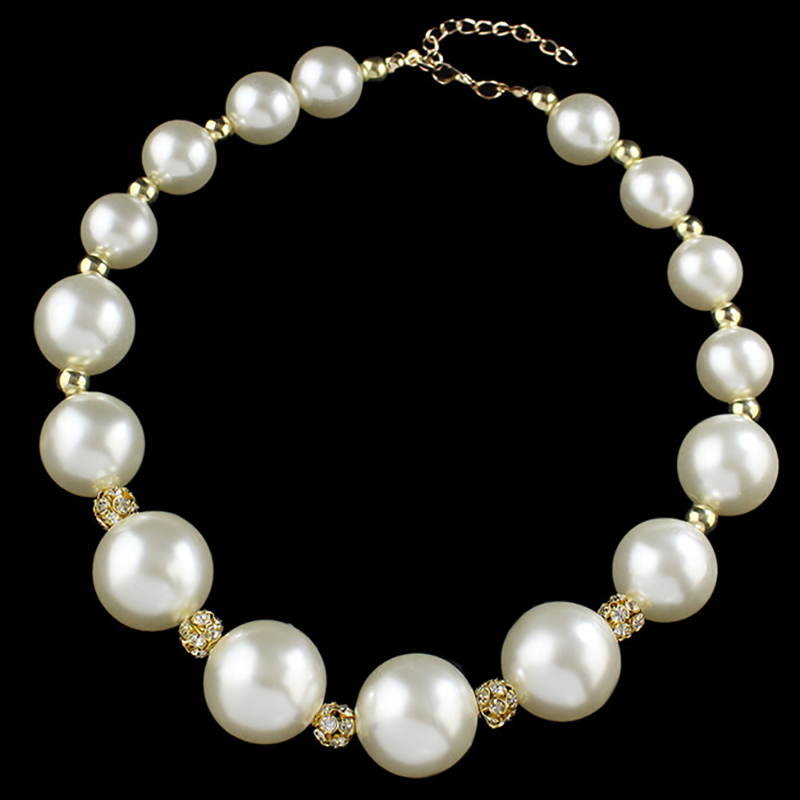 Large 18 Simulated-Pearls Beads From Big To Small Crystal Nes