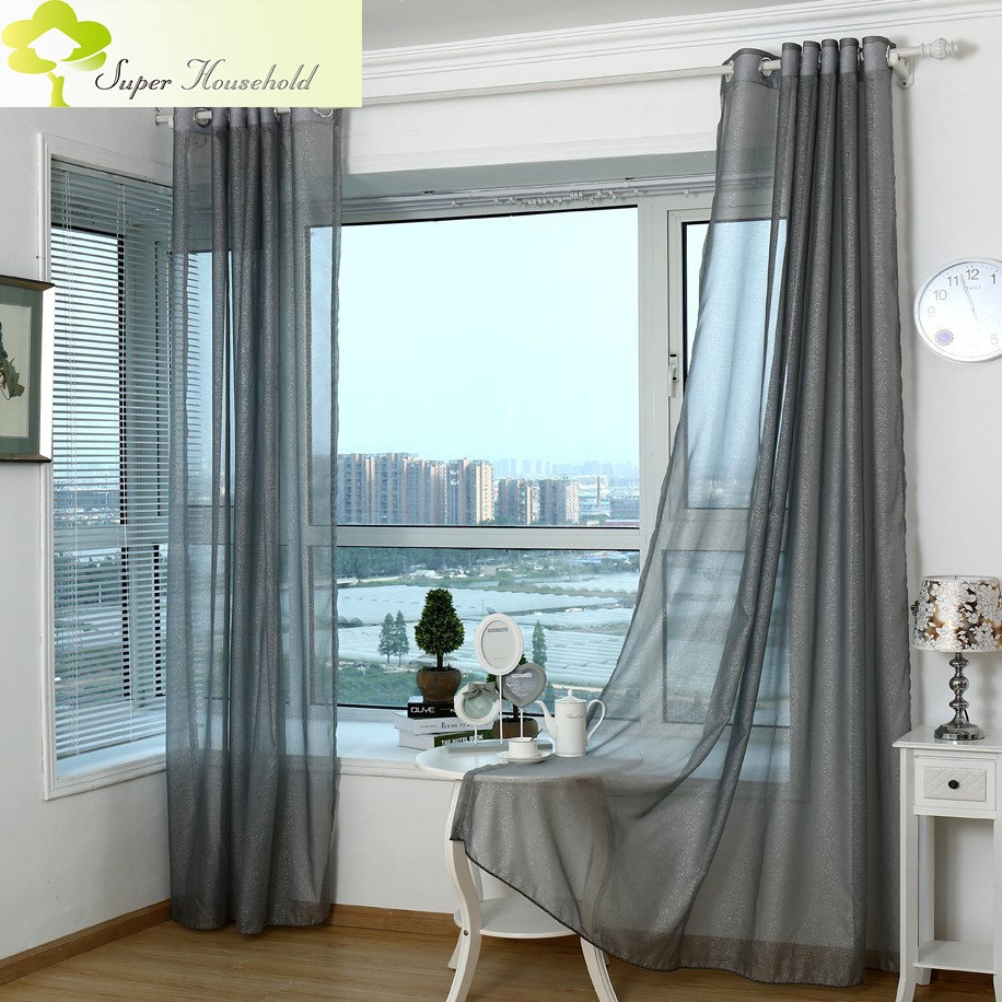 Living room curtains 2016 - 2016 Modern Curtains For Living Room Tulle Window Bedroom Cortinas Yarn Product Gray Window Curtain Sheer