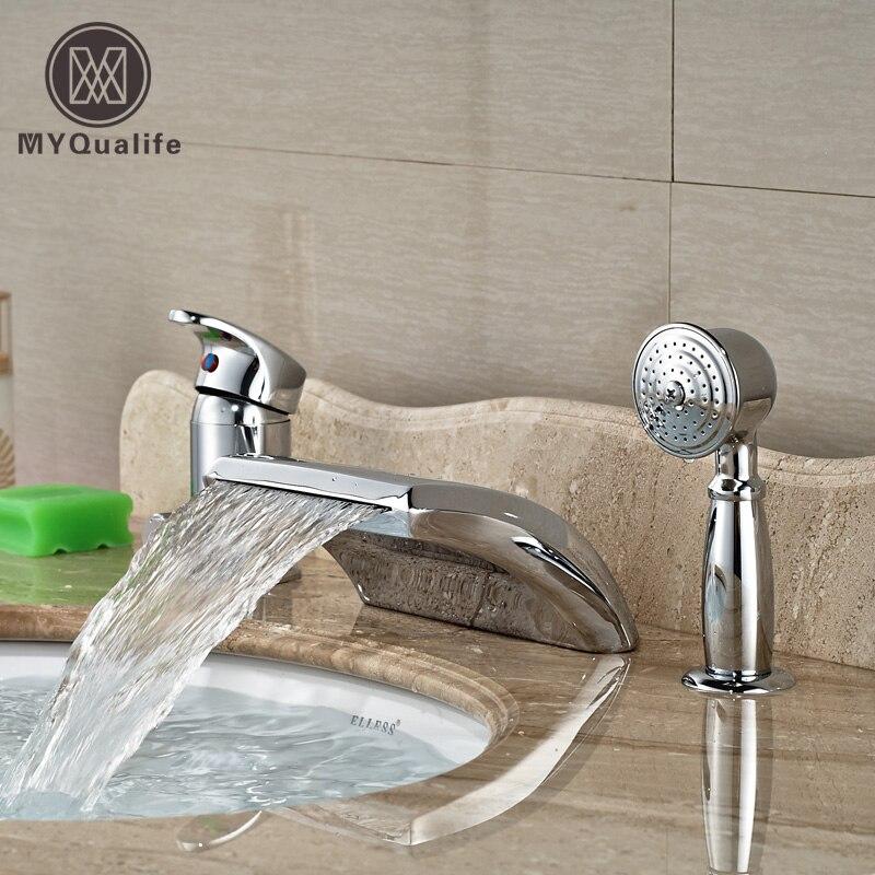 Deck Mount Single Handle Widespread 3pcs Bathtub Faucet Tap Brass Chrome Bathroom Tub Filler with Handshower цена и фото