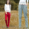 Vintage Embroidery Loose Knit Pants Women autumn winter Casual Trousers Ladies Slacks pantalon femme M L XL XXL Red Gray