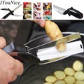 Stainless Steel smart Kitchen Tool Board Scissors slicer 2 in 1  Food Knife Cutting Vegetable Cutter