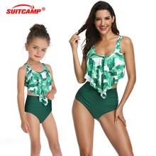 Two Piece Swimsuit Family Matching Outfits High Waist Bikini Parent-child Spot Swimwear