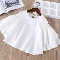 2 7 Years Wholesale 2018 New Fashion Girls Ruffles Shirt Full Sleeve White Spring Girls Blouse