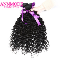 3/4 Bundles Brazilian Water Wave Hair Weave Natural Color 100% Human Hair Extensions 8 28inch Non Remy Hair Bundles Annmode