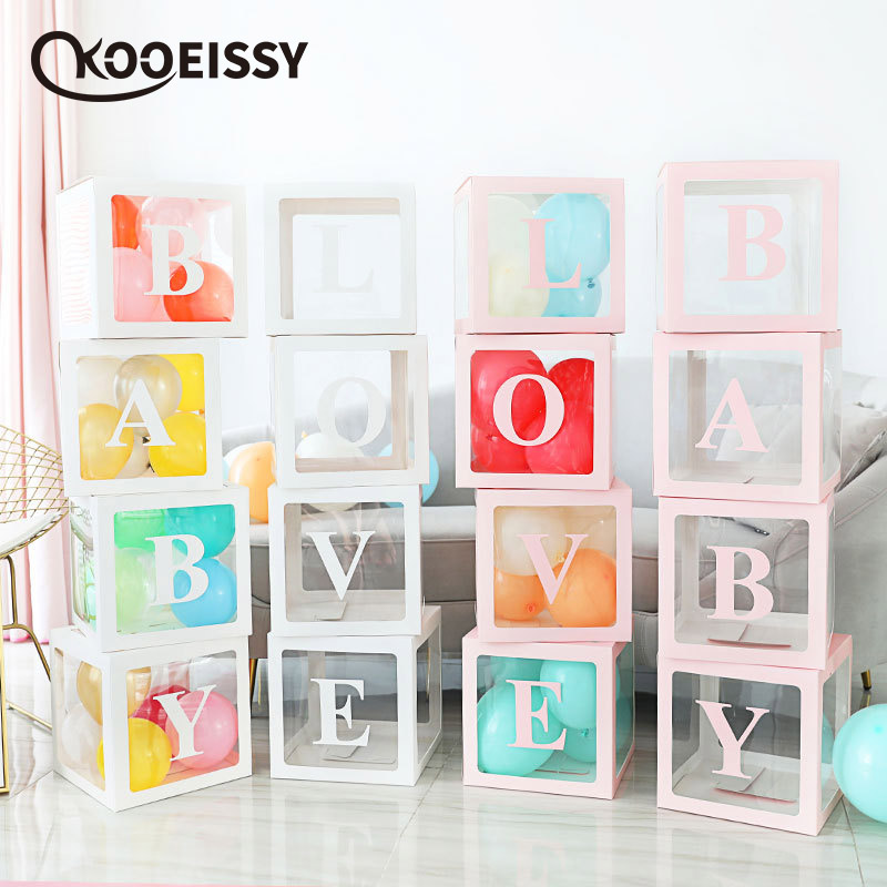 4Pcs Baby Love Letter Balloon Box  birthday party decoration box for kids wedding arrangement props DIY letters Baby Shower