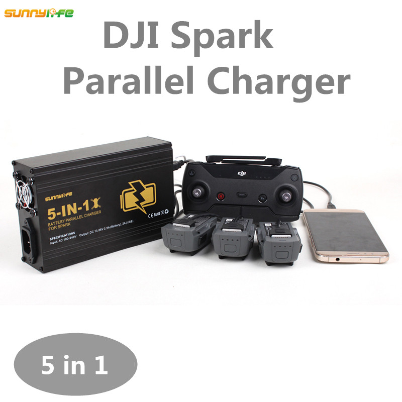 Sunnylife 5In1 Parallel Charger Remote Controller 3 Pcs Battery Ports Smartphone Dual USB Port With US