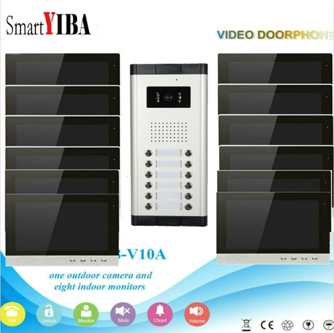 SmartYIBA 10 12 Units Apartment/Family Video Door Phone Intercom System Visual Doorbell Intercom IR Camera Entry System smartyiba 2 units apartment wired 4 3 monitor rfid video intercom doorbell door phone audio visual intercom entry access system