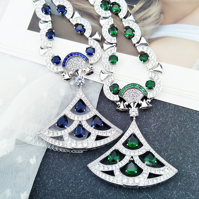 925 silver Party jewelry blue green color Zircon Crystal Geometric pendants adjustable chain necklaces for women