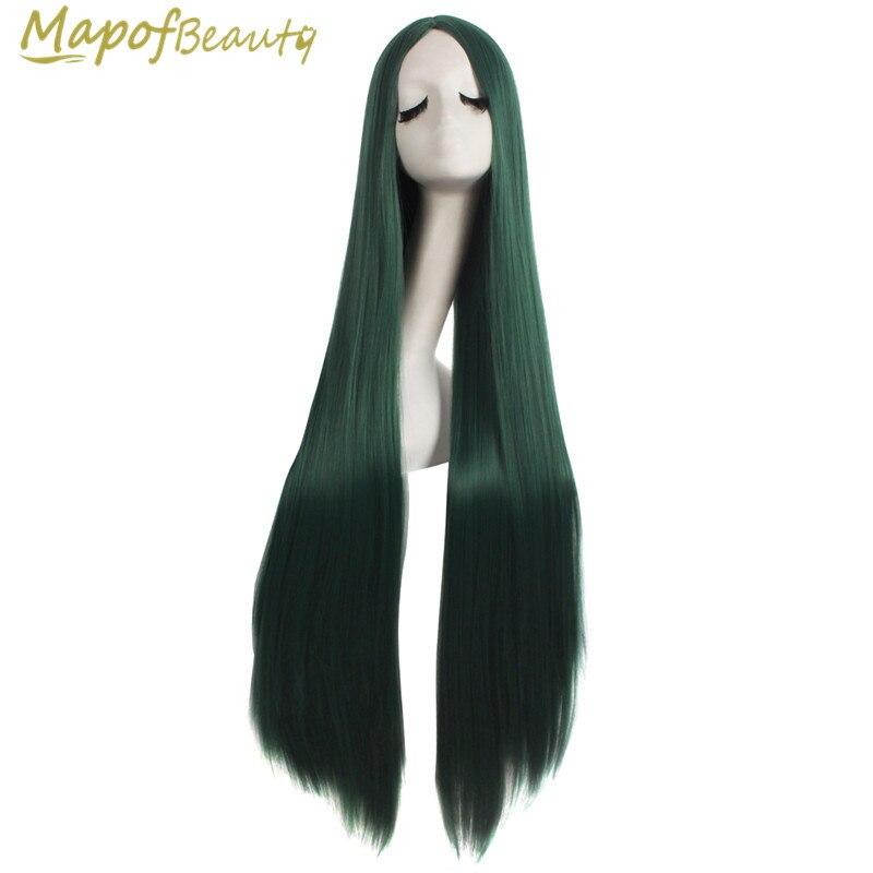 """40 """"lange Gerade Dark Green Cosplay Perücken Halloween Rolle Spielen Kostüm Party Synthetische Wärme Beständig Haar Für Frauen Mapofbeauty"""