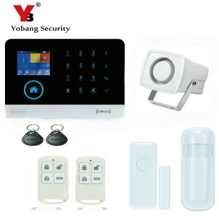YobangSecurity Wireless Wired Wifi GSM GPRS RFID Auto Dial Home Office Security Burglar Intruder Alarm Door PIR Motion Sensor yobang security gsm wifi auto dial home alarm system rfid tags intelligent alarma kits glass break sensor strobe siren sensor