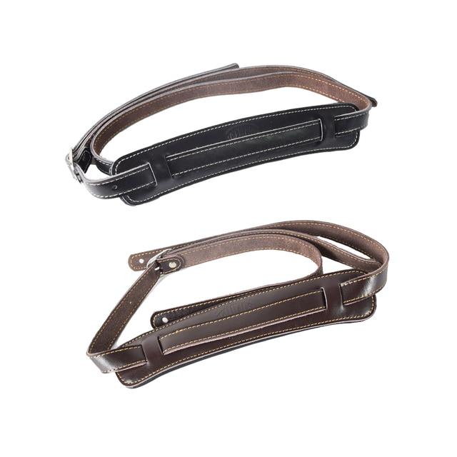 ブラウンと黒牛革パッド入りギターストラップソフト耐久性のある調節可能な兵士厚みエレクトリックアコースティックギターベースベルト