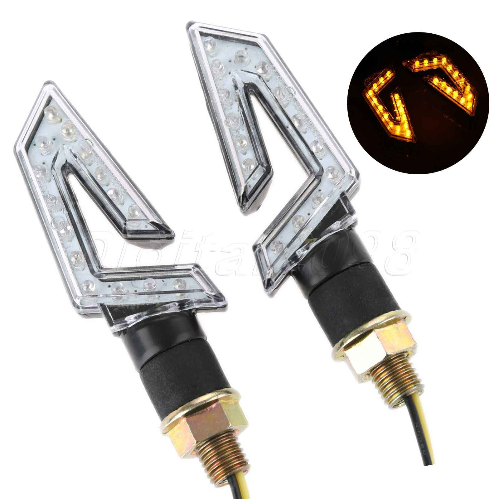 Yetaha 2pcs Motorcycle Light Lamp Turn Signal Indicator 1Pair Flashing LED Blinker Light Headlight Motorbike Bike Bulb New Style