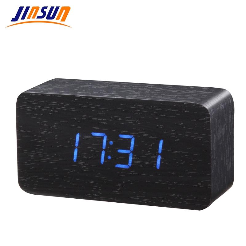 JINSUN Elektronické stolní hodiny Nejlepší teploměr Dřevěné LED digitální hlasové lůžko černé světlo Wekker